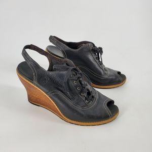 Timberland lace up peep toe wedges black leather 9